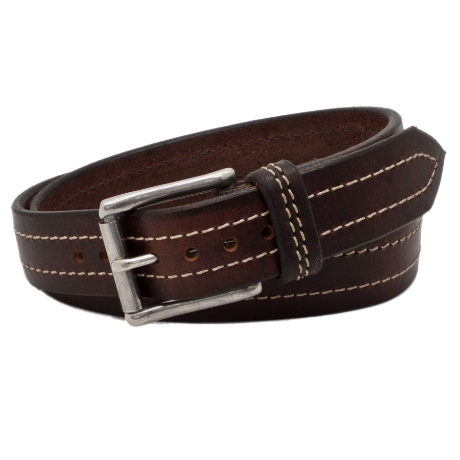 Front Side of Seattle Brown Leather Belt with Stainless Steel buckle