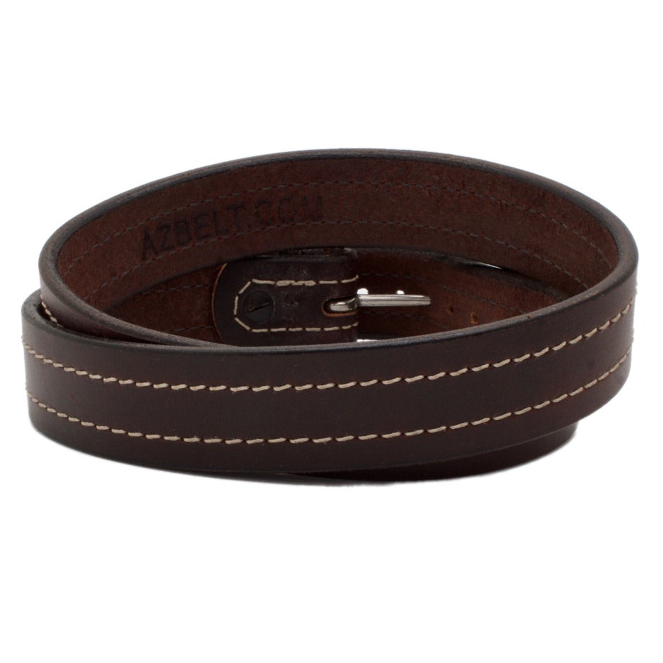 Back Side of Seattle Brown Leather Belt with Stainless Steel buckle