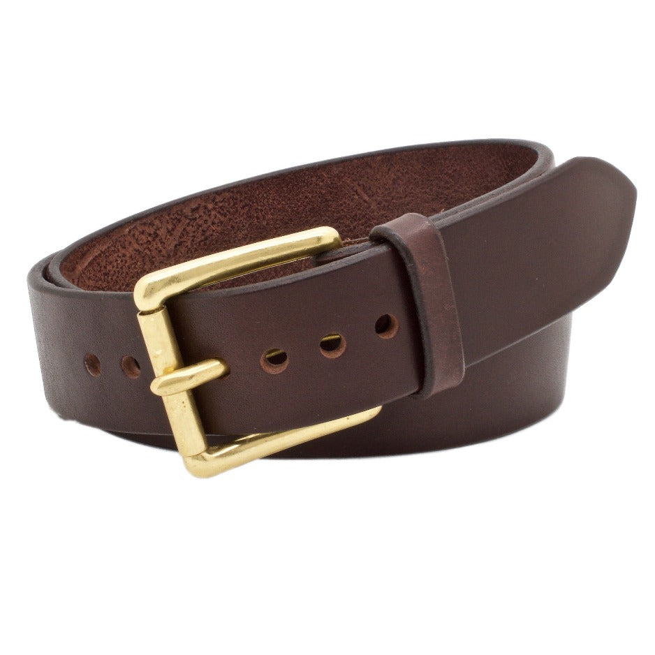 Front Side of Classic Wide 1.75 Espresso  Mens Leather Belt with Solid Brass buckle