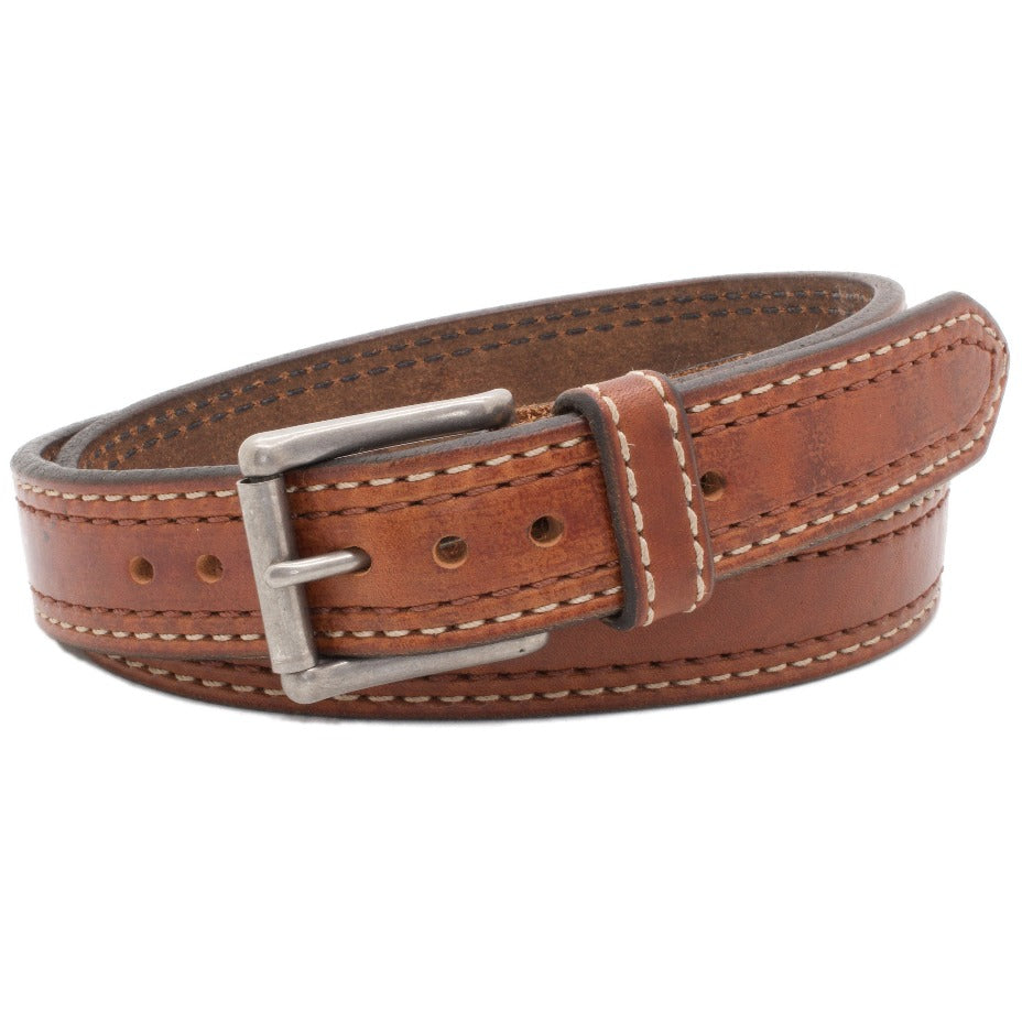 Front Side of Manhattan Mens Leather Belt with Stainless Steel buckle