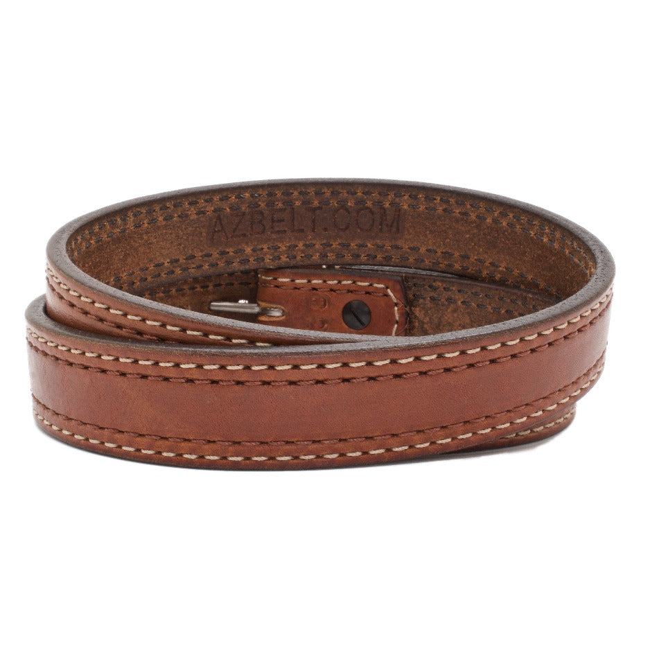 Back Side of Manhattan Mens Leather Belt with Stainless Steel buckle