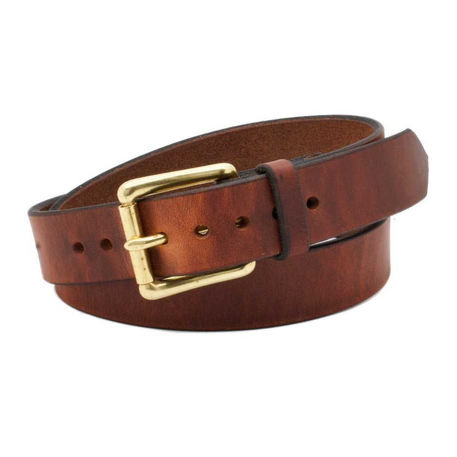 Front Side of Classic Narrow Copper Leather Belt with Solid Brass Buckle