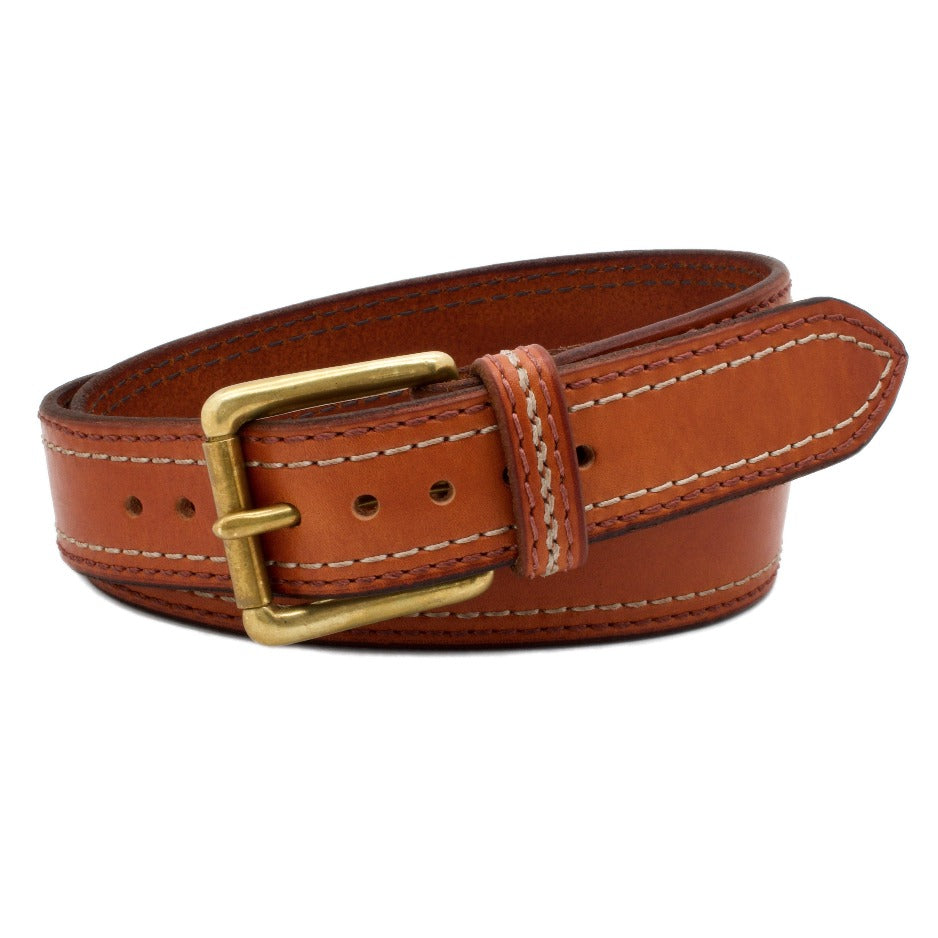 Front Side of Belmont Leather Belt with Solid Brass Buckle