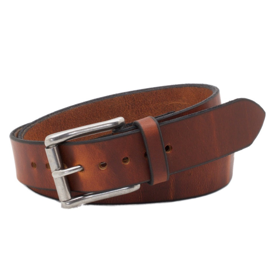 Front Side of Classic Copper Mens Leather Belt with Stainless Steel buckle