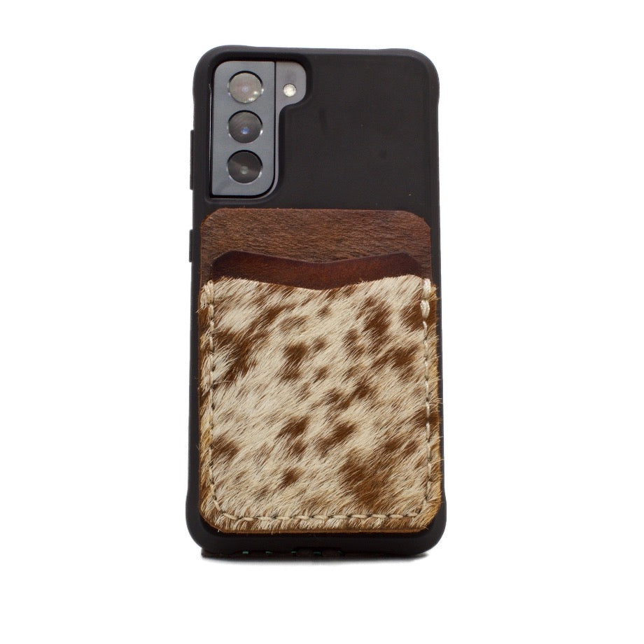 Brown and natural Cowhide Phone Wallet attached to Galaxy 21S Phone case