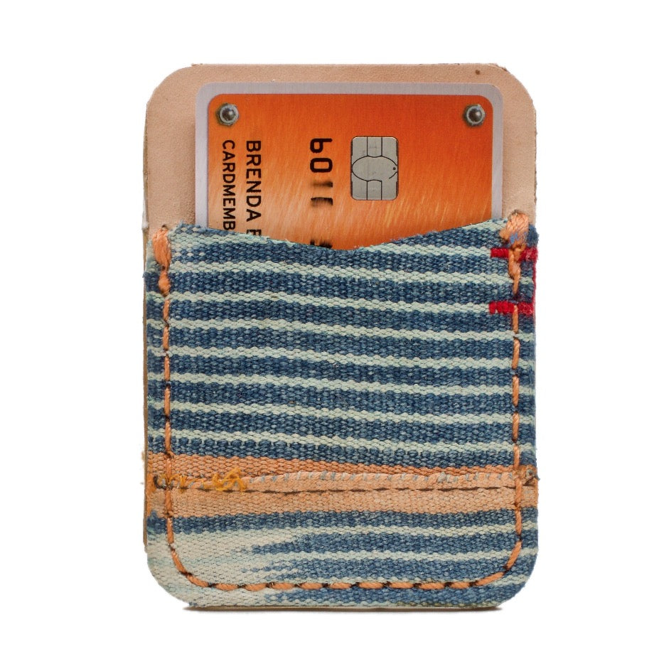 The Ladson Self Adhesive African Mud Cloth and Saddle Leather Phone Wallet with Extra 3M® adhesive sheet