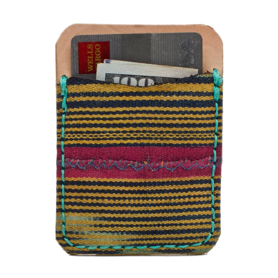 The Kingston Self Adhesive African Mud Cloth and Saddle Leather Phone Wallet with Extra 3M® adhesive sheet