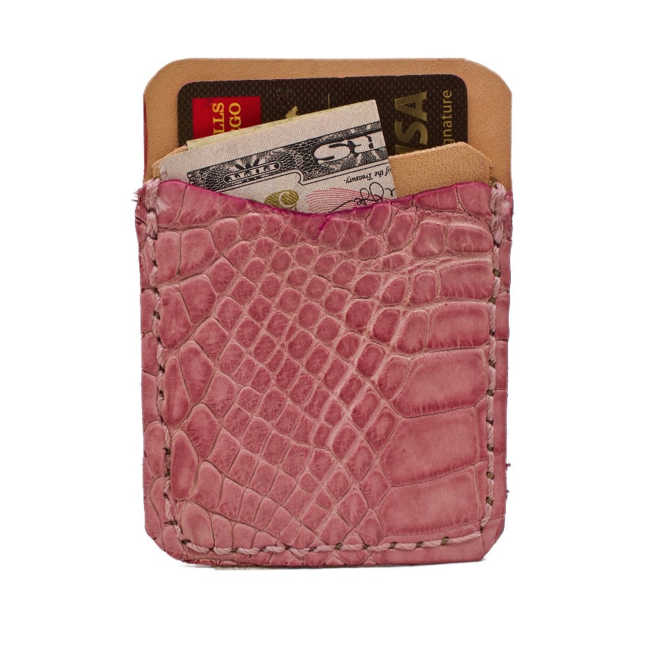Front side of Dusty Rose Alligator Stick on Leather Phone Wallet. Handcrafted with hand dyed alligator and natural vegetable tanned leather.