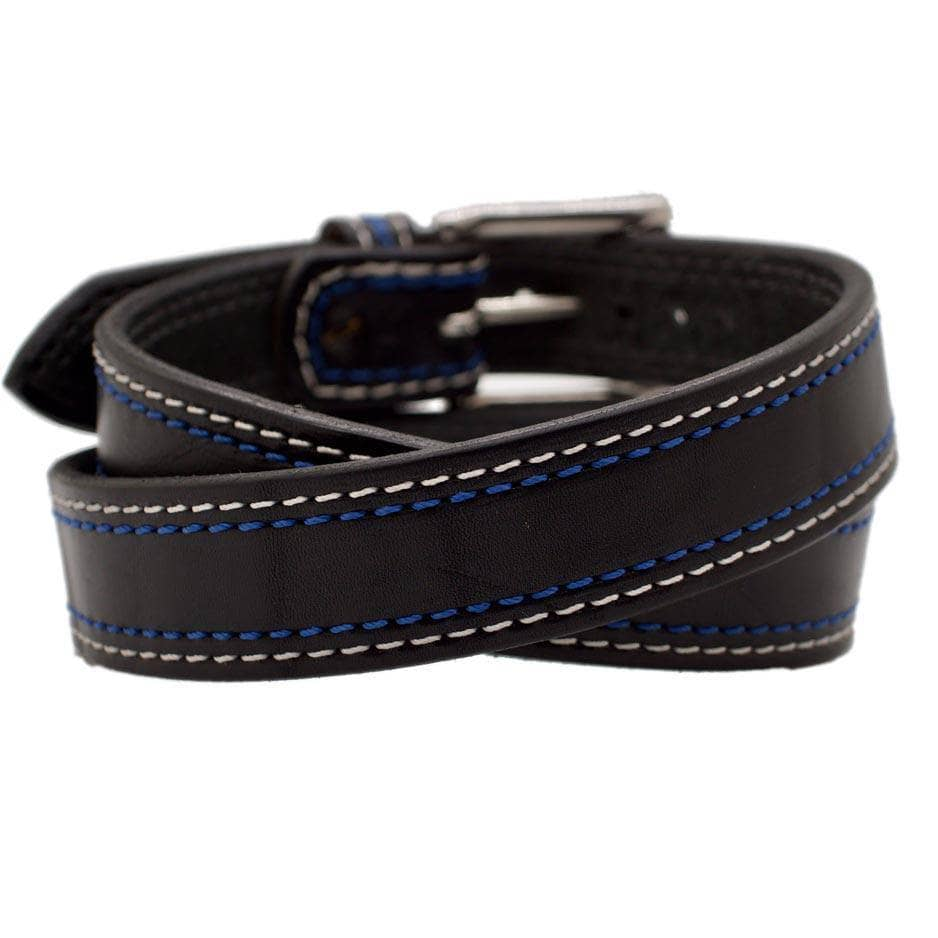 Back Side of GT500 Mens Black Leather Belt with Stainless Steel buckle