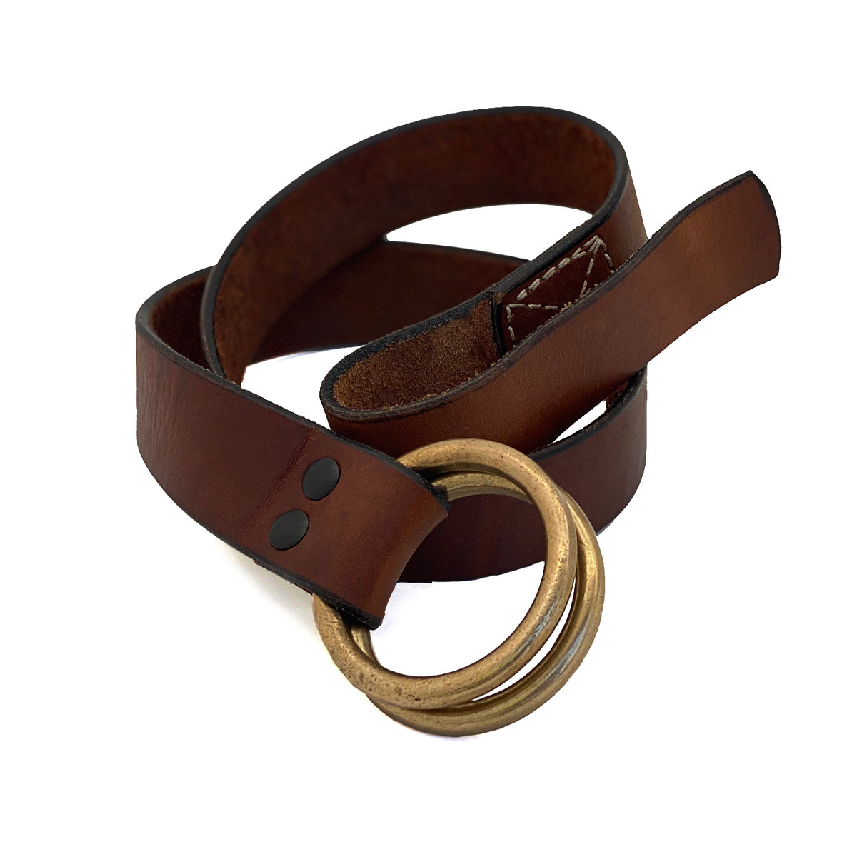 Stainless Double Ring Black 1.5 Leather Belt | The Sausalito