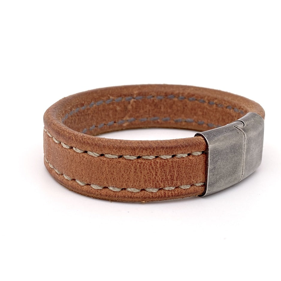 Side View of Oak Creek Bespoke Men's Leather Bracelet with Stainless Steel Clasp