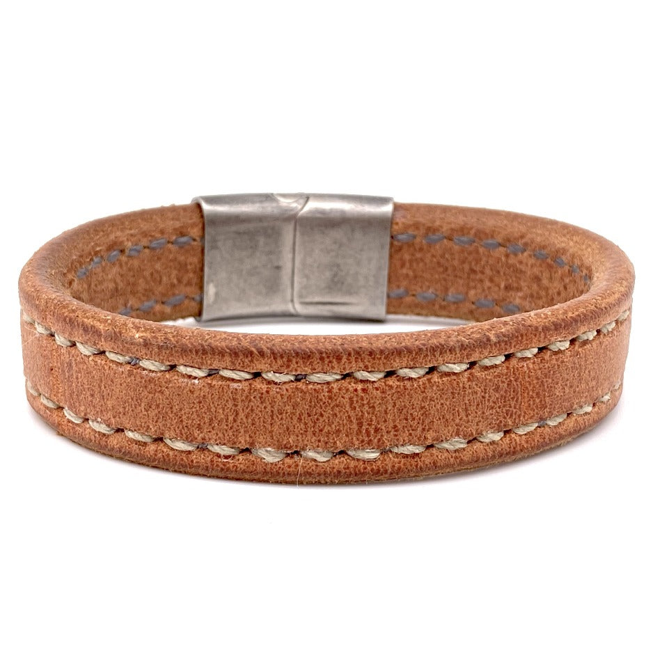 Front Side of Oak Creek Bespoke Men's Leather Bracelet with Stainless Steel Clasp