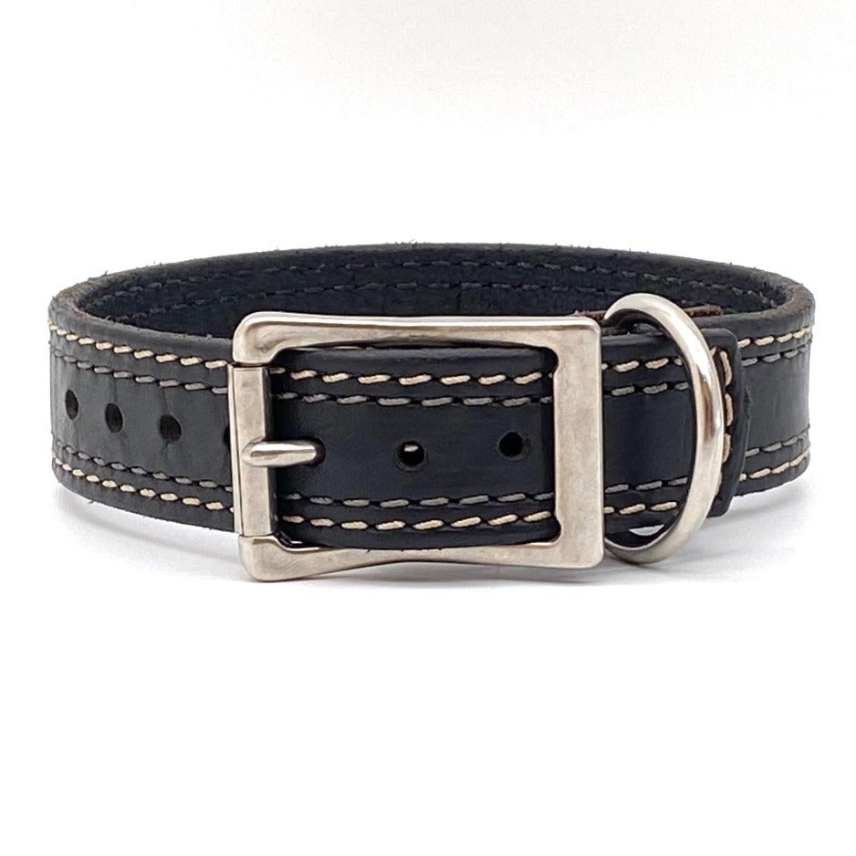Front Side of Remington Black Dog Collar with Parchment and Steel Stitching and Stainless Steel Buckle and D-ring