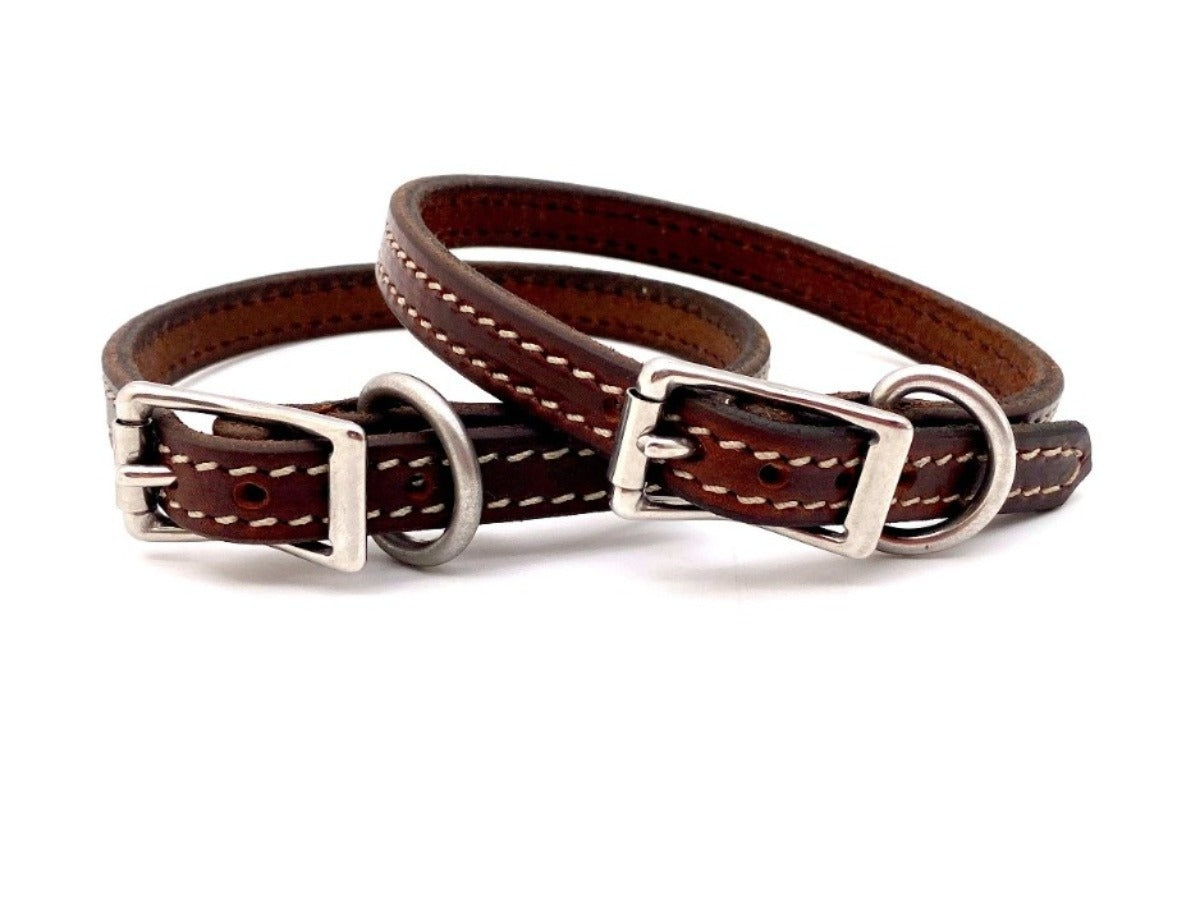 "Front Sides of Brittany 5/8"" Mahogany Dog Collars with Parchment Stitch and Stainless Steel Buckle and D-ring"
