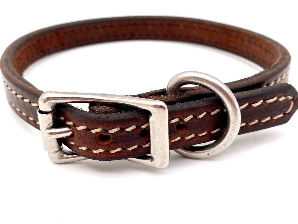 "Front Side of Brittany 5/8"" Mahogany Dog Collar with Parchment Stitch and Stainless Steel Buckle"