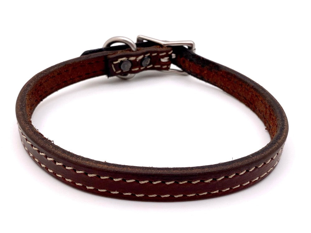 "Back Side of Brittany 5/8"" Mahogany Dog Collar with Parchment Stitch and Stainless Steel buckle and D-ring"