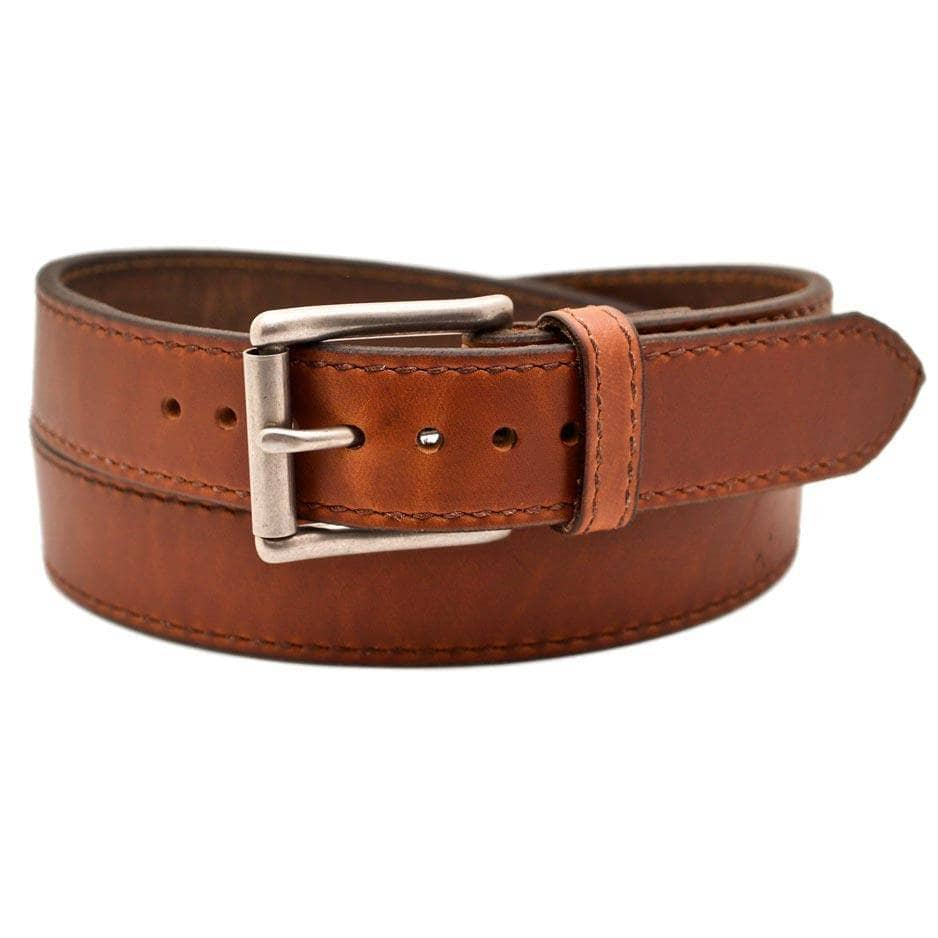 Front Side of Jerome Mens Brown Leather Belt with Stainless Steel buckle
