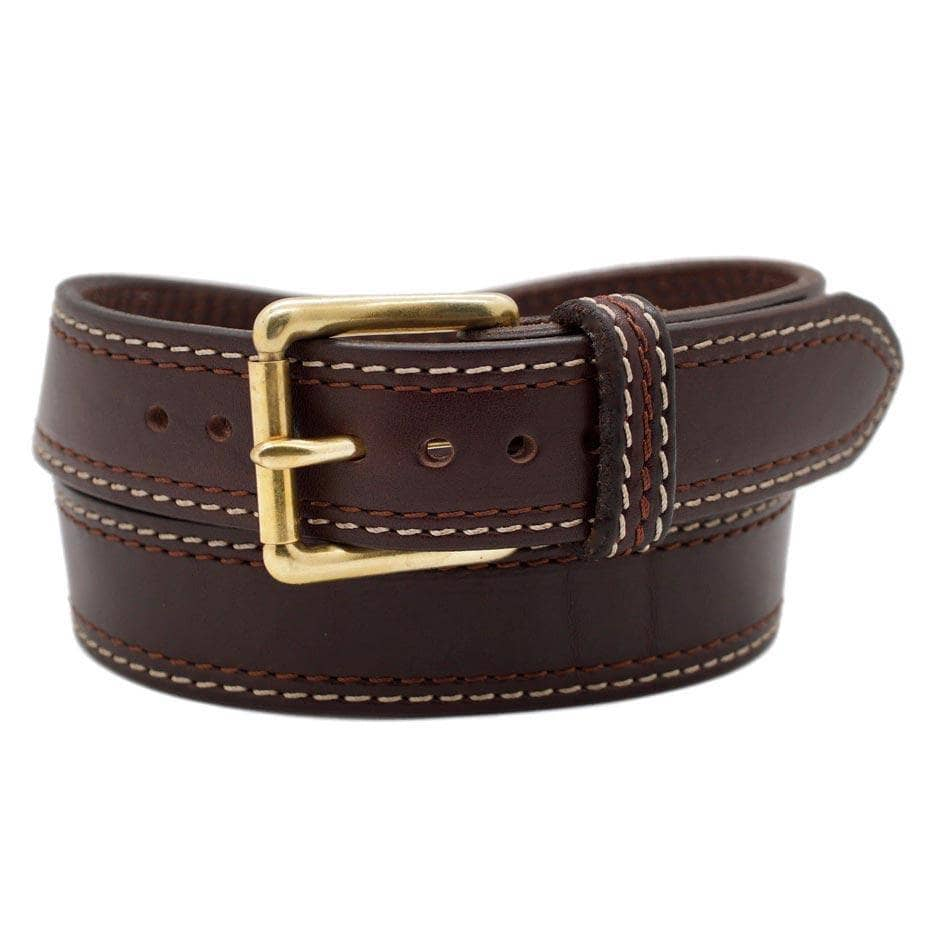 Front Side of Lexington Mens Brown Leather Belt with Solid Brass buckle
