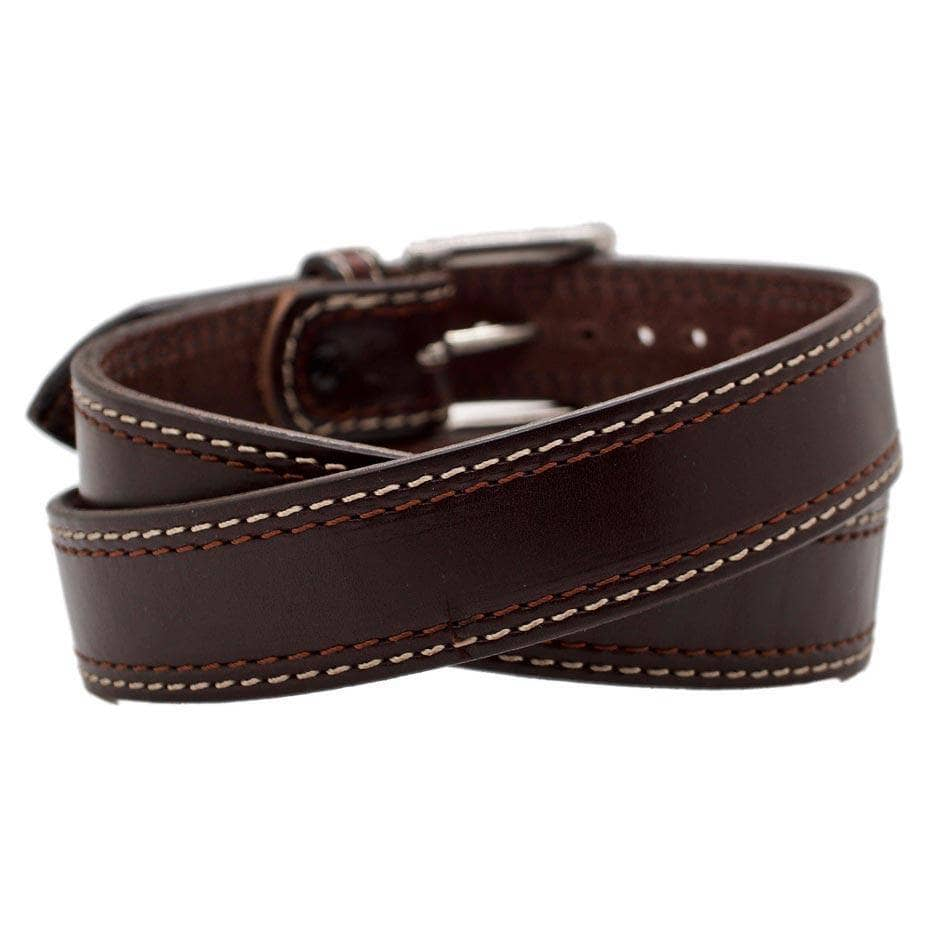 Back Side of Lexington Mens Brown Leather Belt with Stainless Steel buckle