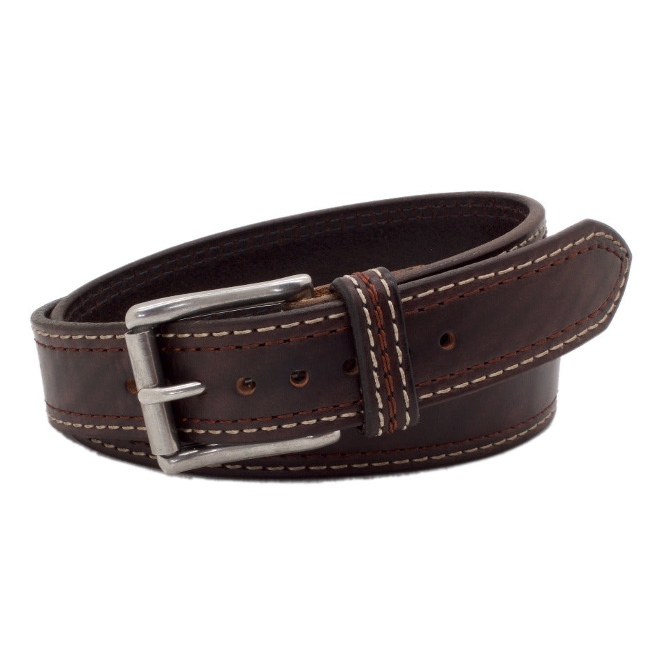 Front Side of Lexington Mens Brown Leather Belt with Stainless Steel buckle