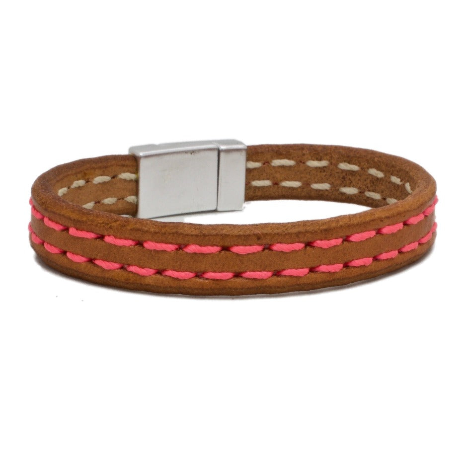 Front Side of Maya Bespoke Leather Bracelet with Lipstick Pink stitching and  Silver Magnetic Clasp
