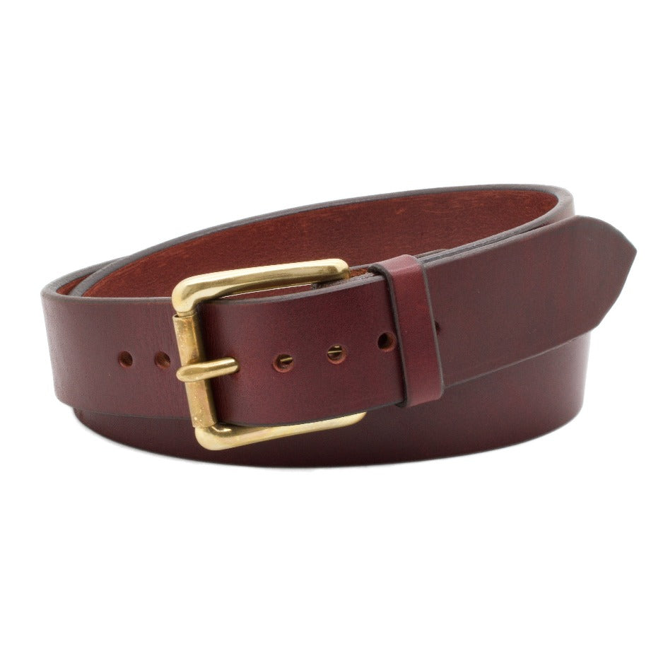 Front Side of Classic Merlot Mens Leather Belt with Solid Brass buckle