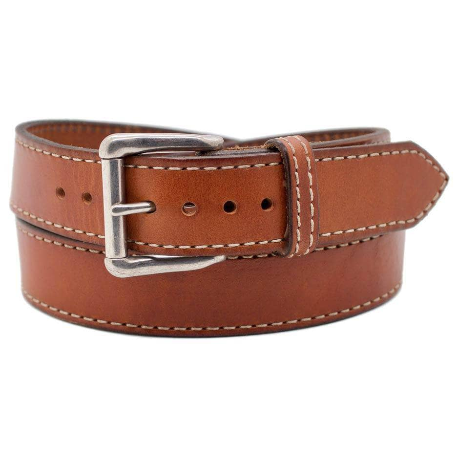 Front Side of Patagonia Mens Brown Leather Belt with Stainless Steel buckle