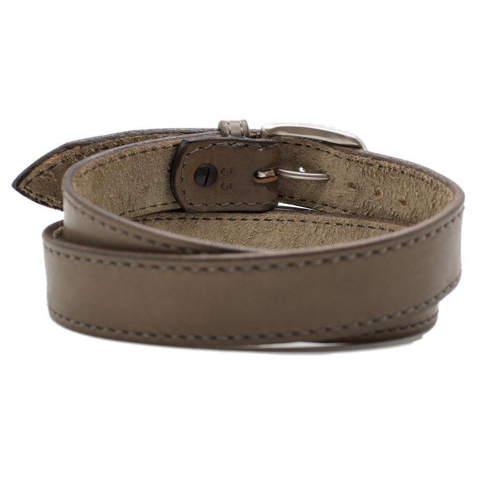 Back Side of Pearce Mens Grey Leather Belt with Stainless Steel buckle