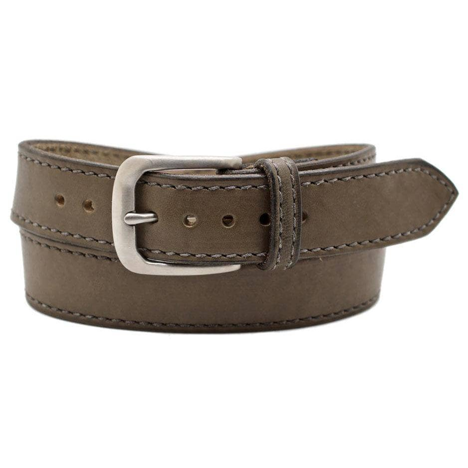 Front Side of Pearce Mens Grey Leather Belt with Stainless Steel buckle