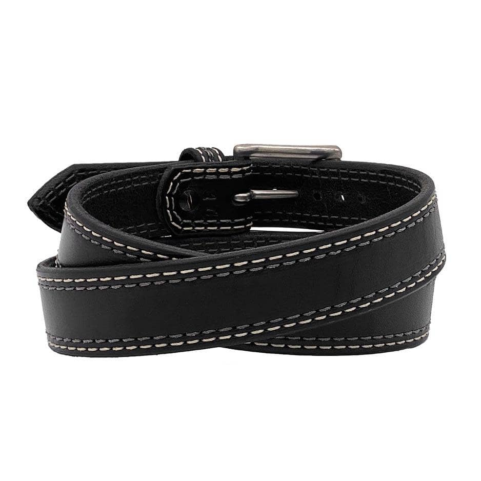 Back Side of Remington Mens Black Leather Belt with Stainless Steel buckle