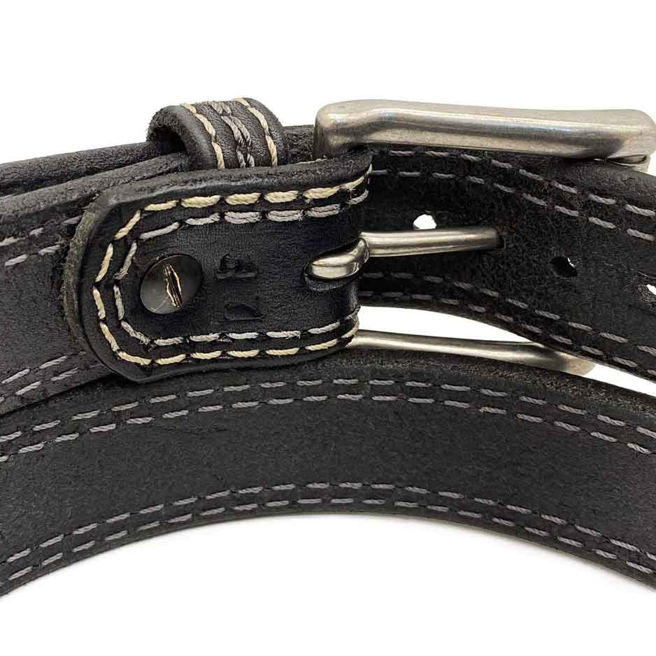 Closeup of Back Side of Remington Mens Black Leather Belt with Stainless Steel buckle