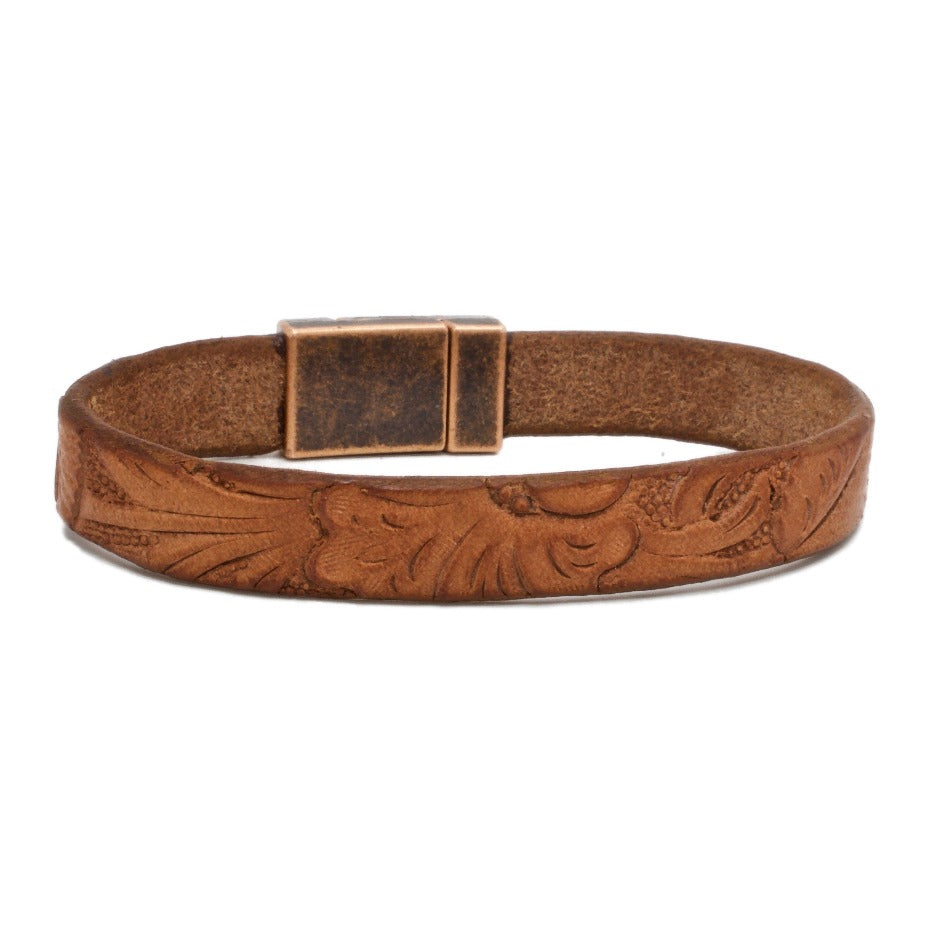 Front Side of Santa Anita Womens leather bracelet with aged copper magnetic clasp