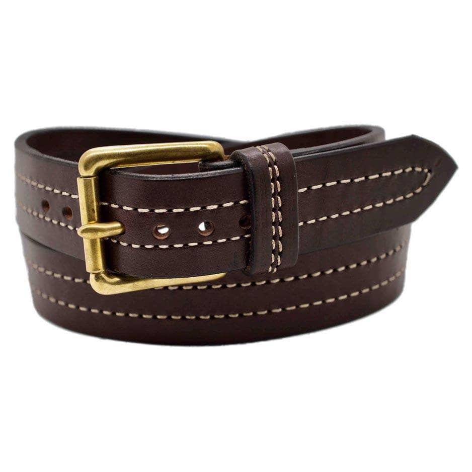 Front Side of Seattle Mens Brown Leather Belt with Solid Brass buckle