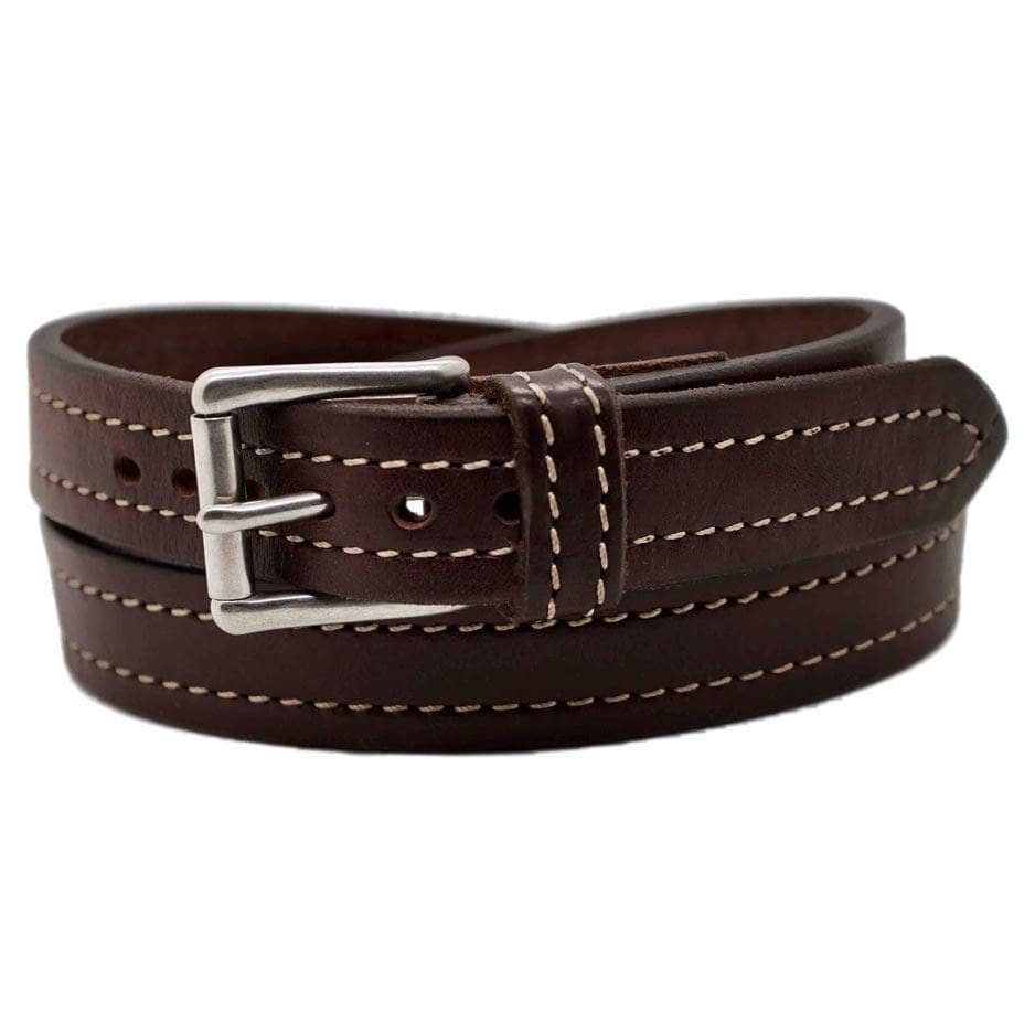 Front Side of Seattle Mens Narrow Brown Leather Belt with Stainless Steel buckle