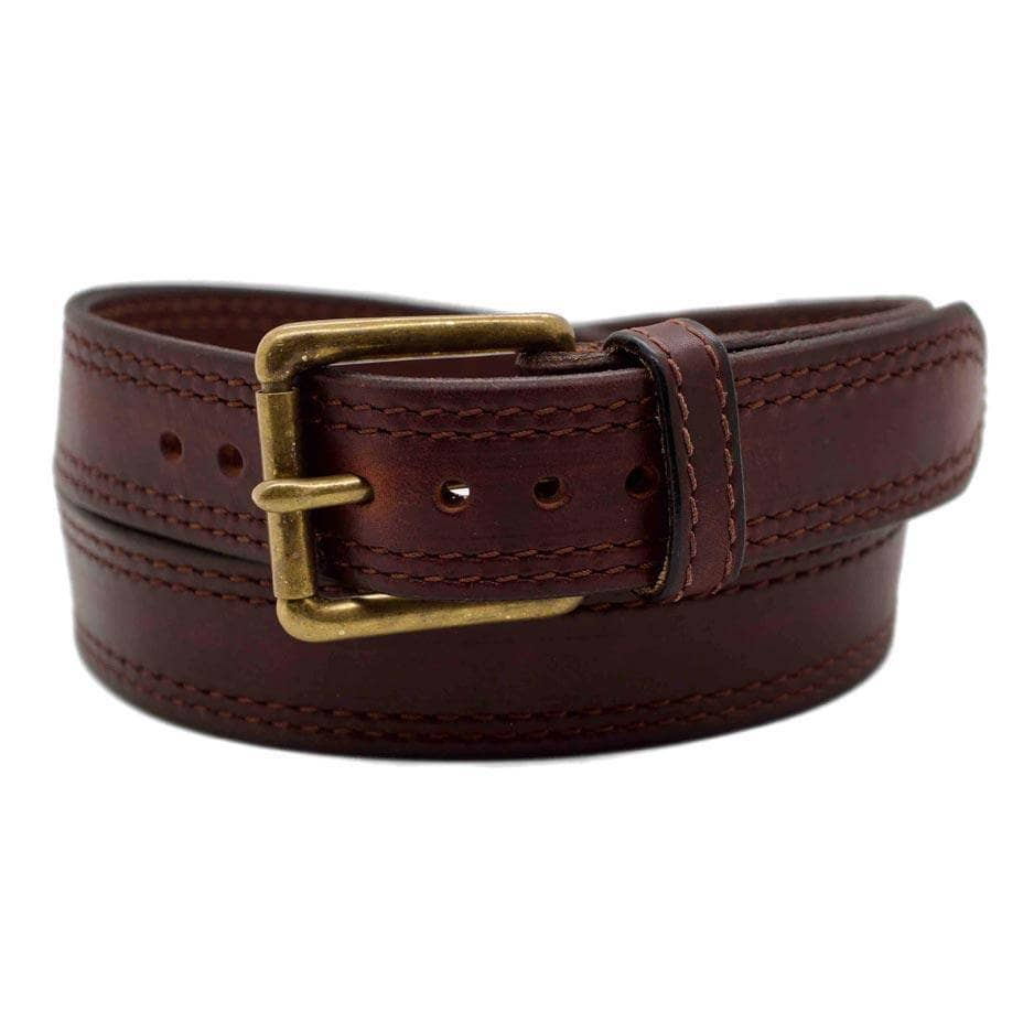 Front Side of Sequoia Mens Brown Leather Belt with Solid Brass buckle