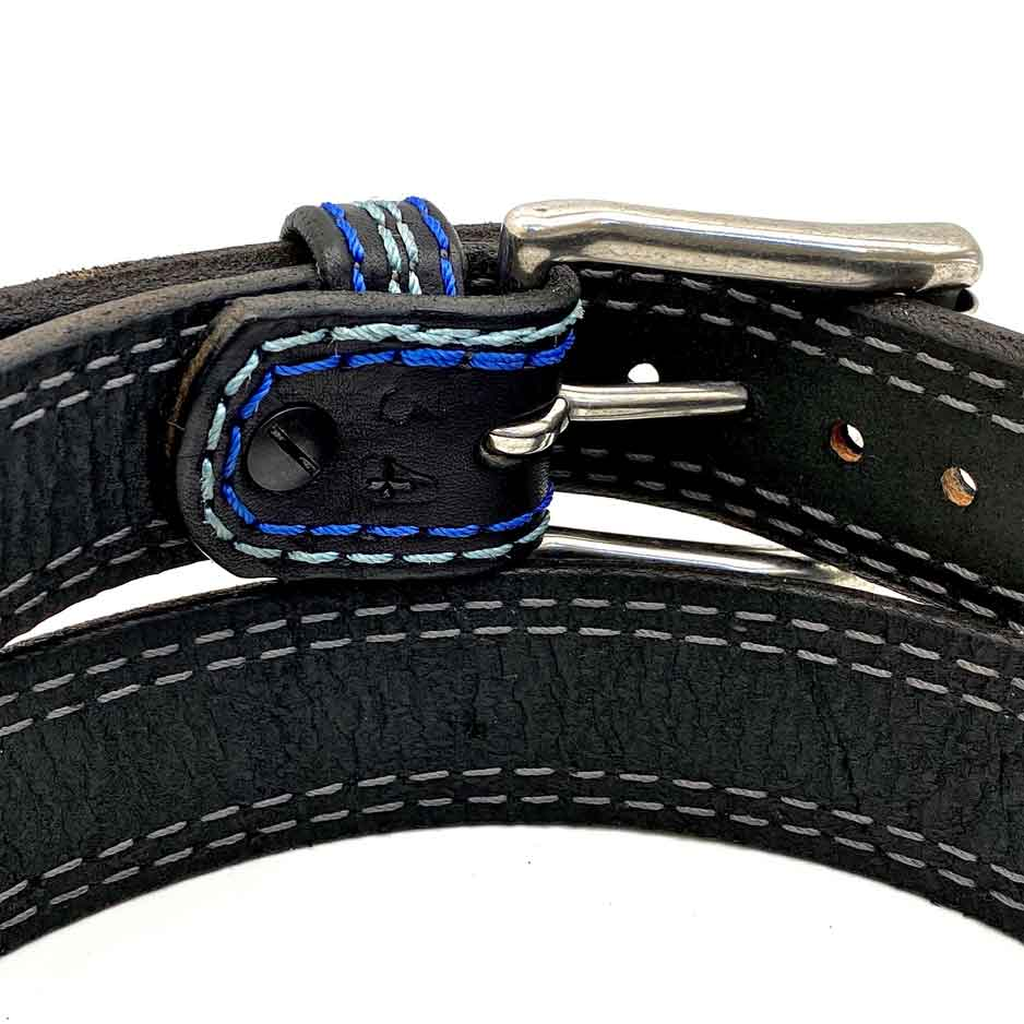 Closeup of Back Side of Shelby Mens Black Leather Belt with Stainless Steel buckle