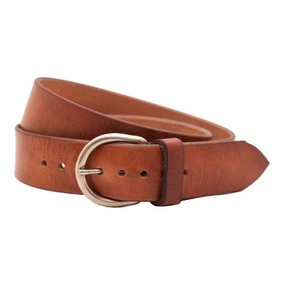 Front Side of Shiloh Womens Brown Leather Belt with Antique Silver buckle