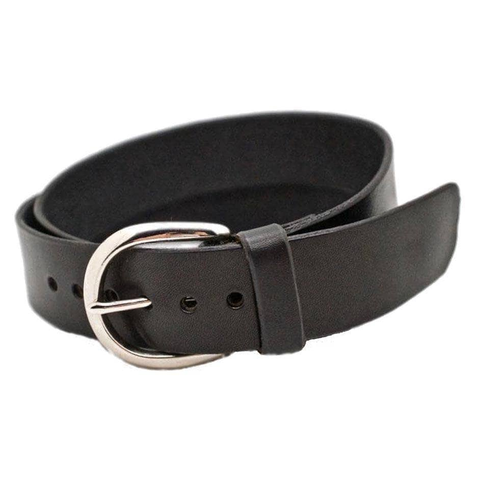 Front Side of Sidney Womens Black Leather Belt with Antique Silver Buckle