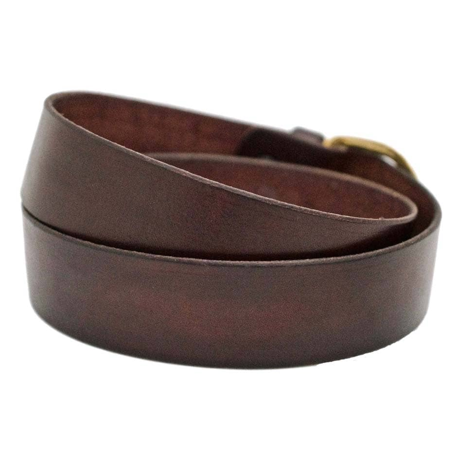 Back Side of Sidney Womens Brown Leather Belt with Solid Brass Buckle