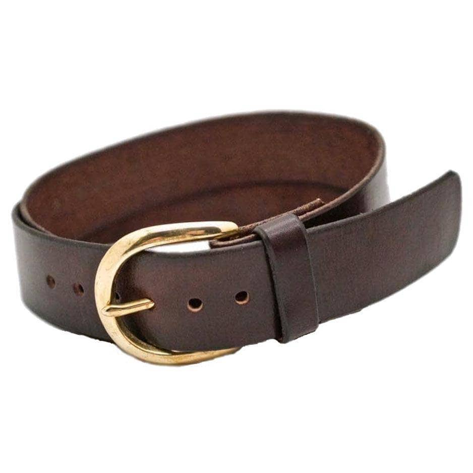 Front Side of Sidney Womens Brown Leather Belt with Solid Brass Buckle