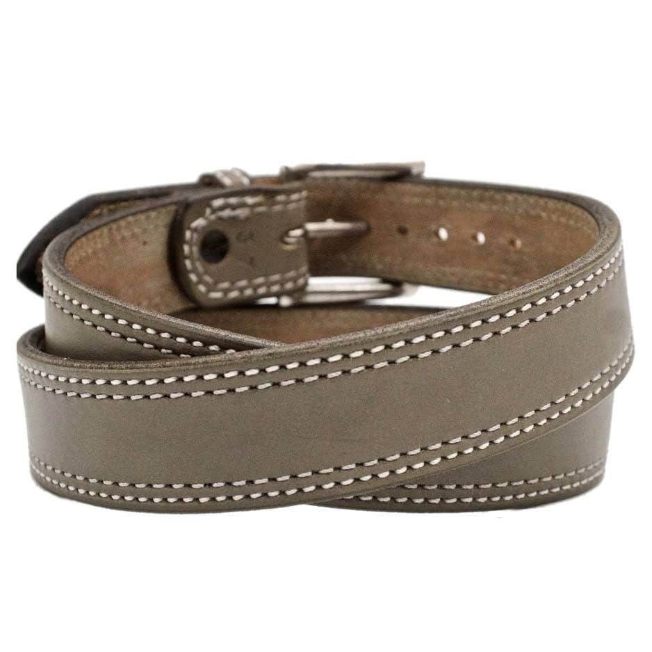 Front Side of Silver Cloud Mens Grey Leather Belt with Stainless Steel buckle