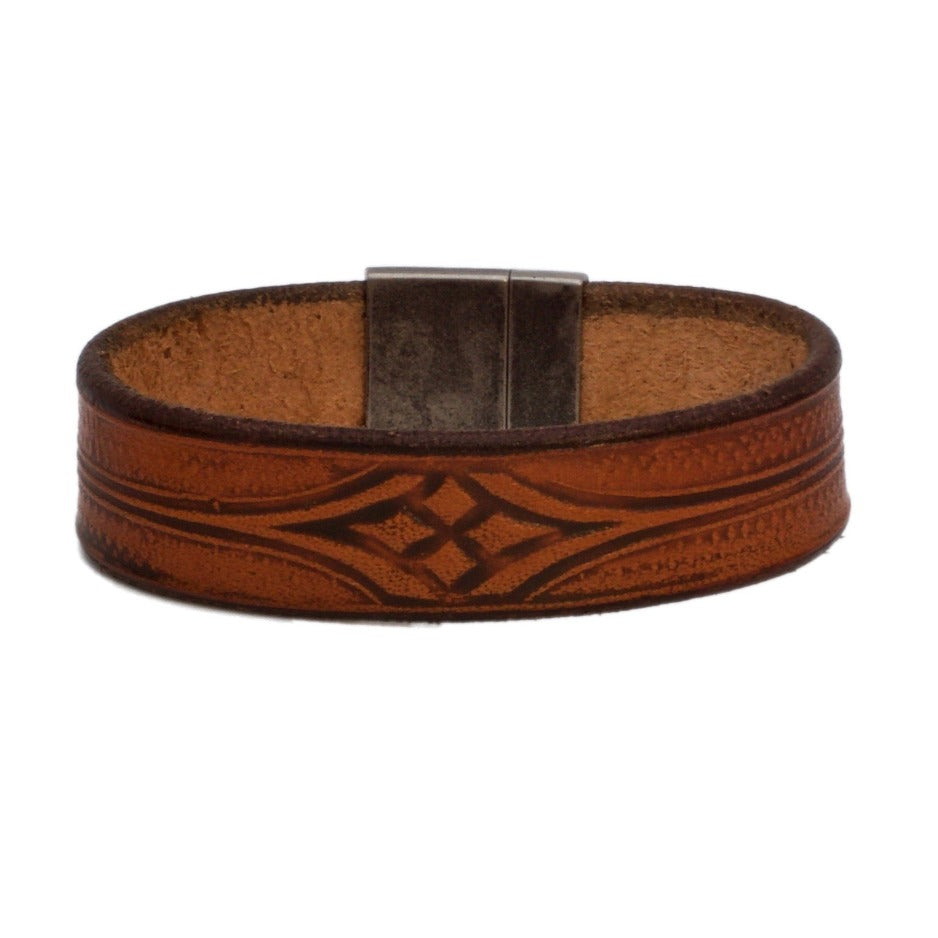 Front Side of Stickley Natural Bespoke Leather Bracelet with Stainless Steel Clasp