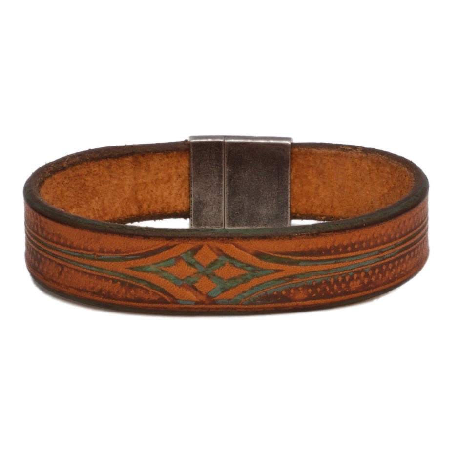 Front Side of Stickley Natural and Turquoise Bespoke Leather Bracelet with Stainless Steel Clasp