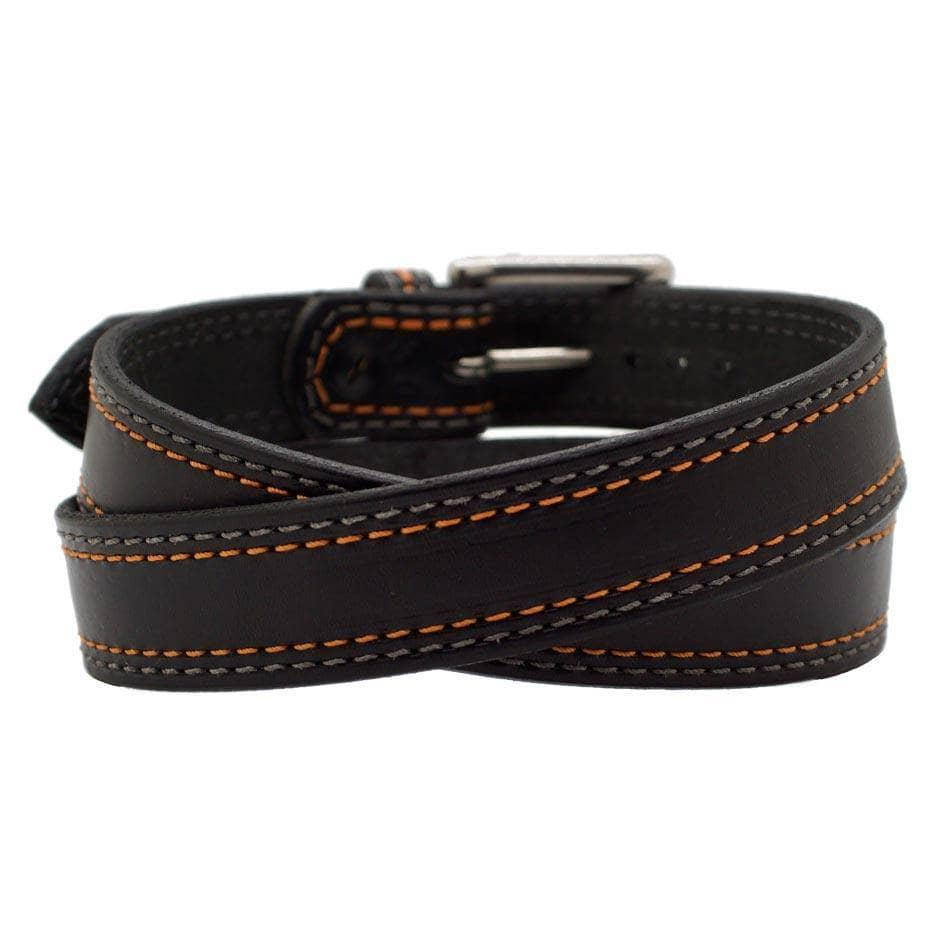 Back Side of Sturgis Mens Black Leather Belt with Stainless Steel buckle