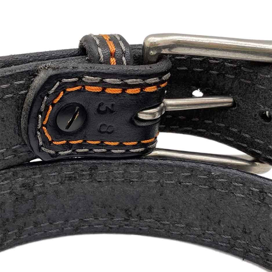 Closeup of Back Side of Sturgis Mens Black Leather Belt with Stainless Steel buckle