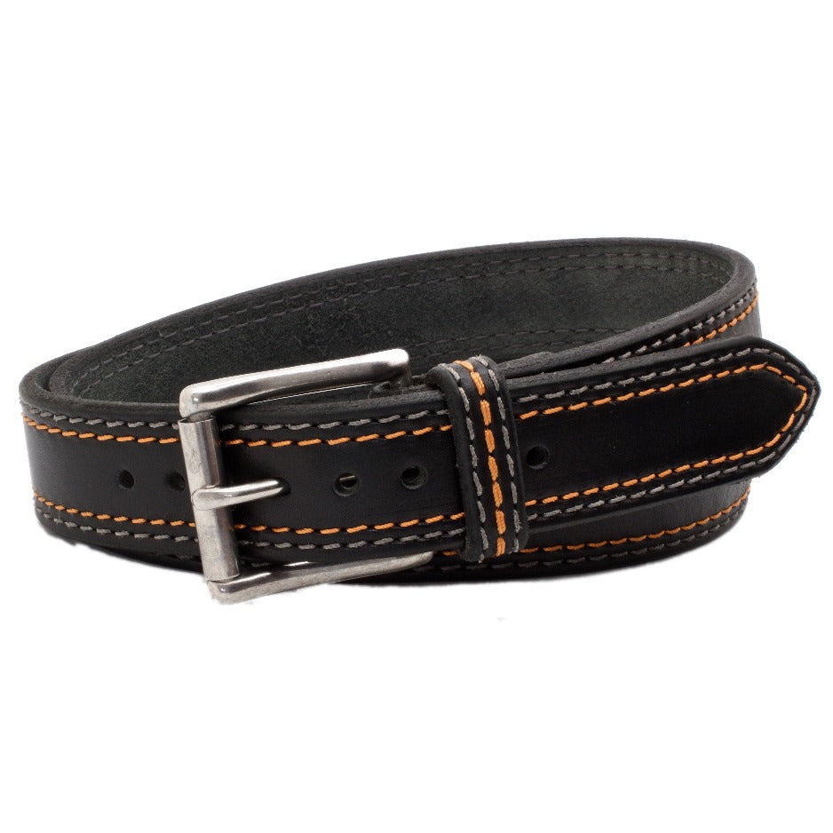 Front Side of Sturgis Mens Black Leather Belt with Orange and Steel Stitching and Stainless Steel buckle