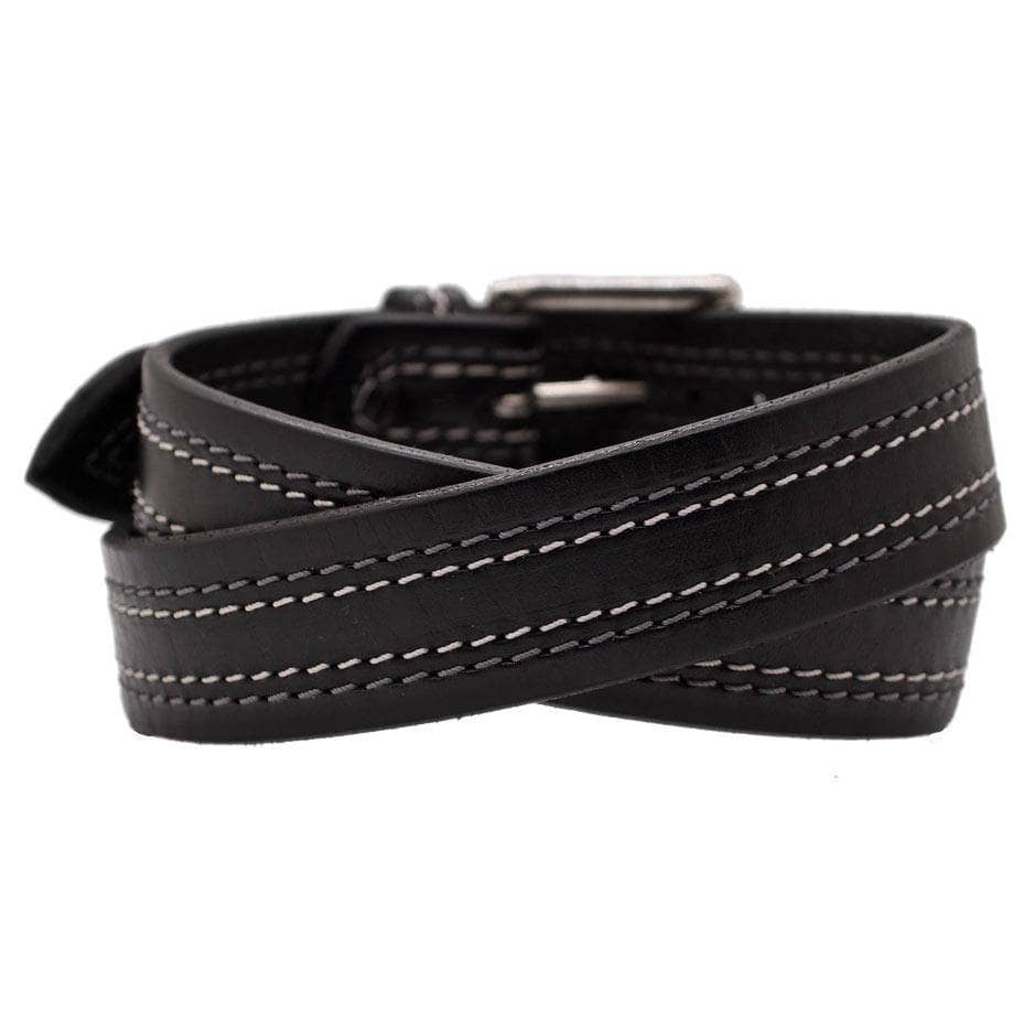 Back Side of Tesla Mens Black Leather Belt with Stainless Steel buckle