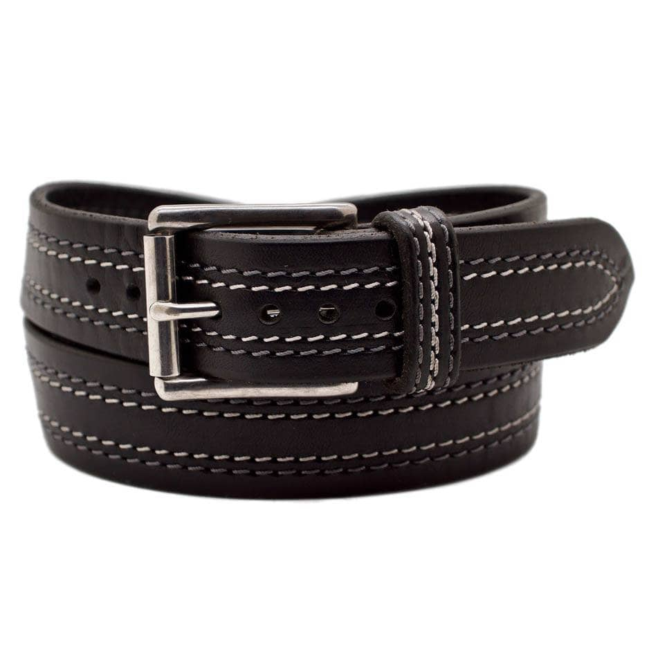 Front Side of Tesla Mens Black Leather Belt with Stainless Steel buckle
