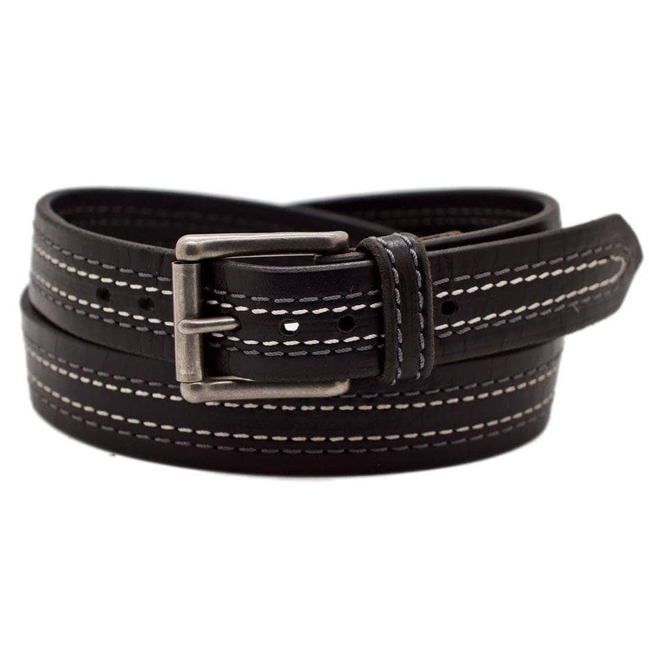 Front Side of Tesla Mens Narrow Black Leather Belt with Stainless Steel buckle