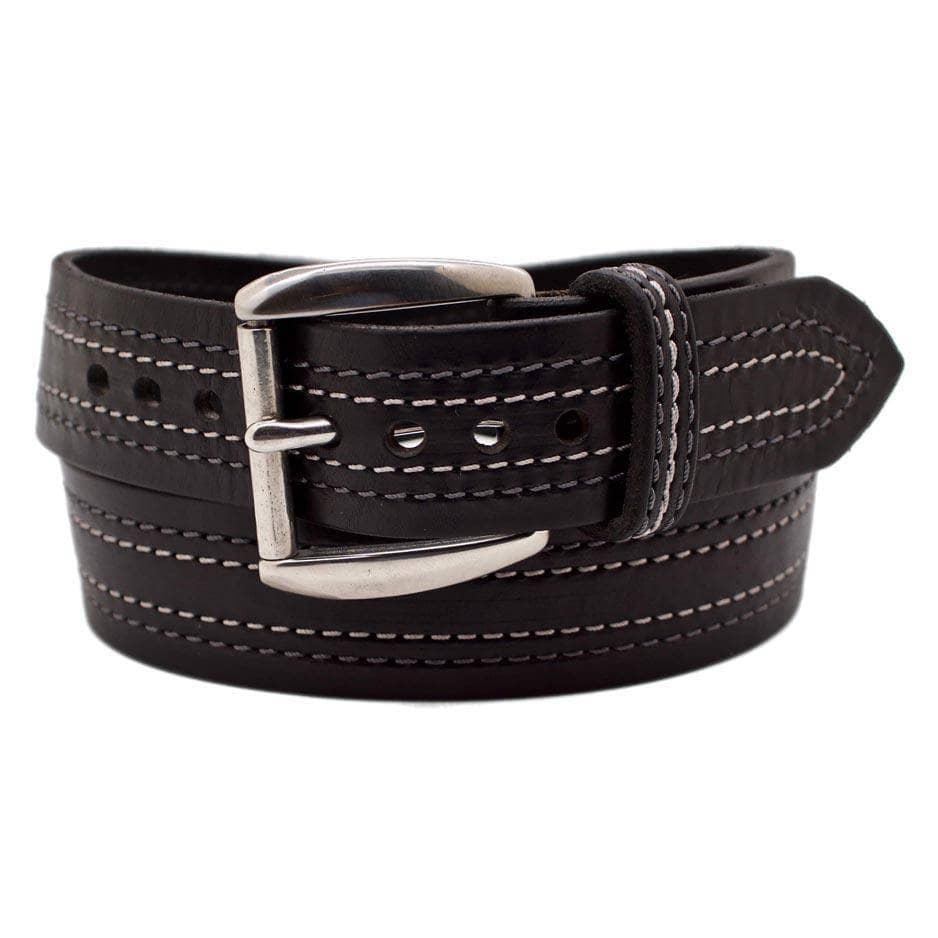 Front Side of Tesla Mens Wide Black Leather Belt with Stainless Steel buckle